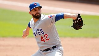 Tyler Chatwood throws a pitch for the Cubs on August 30 against the Reds