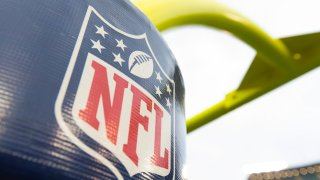 The NFL logo on the goal posts prior to the game between the Philadelphia Eagles and Green Bay Packers at Lambeau Field.
