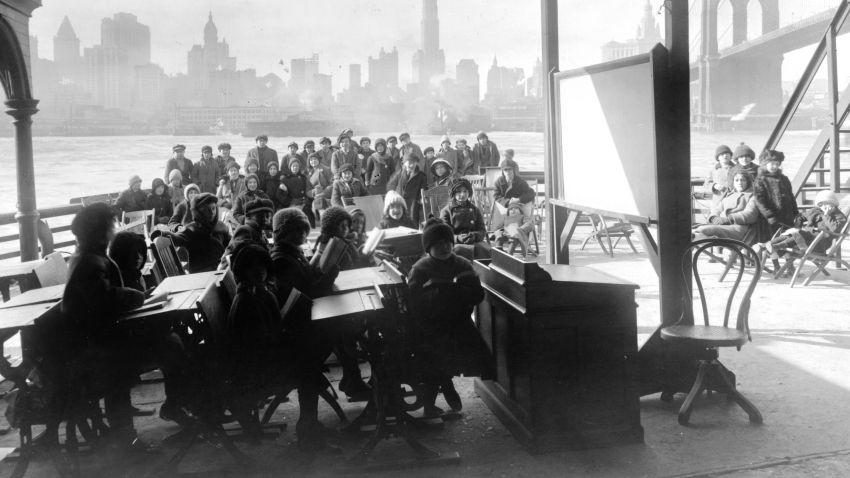 Children attend day camp aboard the Rutherford in New York, 1911. Poor construction and ventilation for school buildings across the country means creative outdoor solutions may be the answer to teaching during a pandemic.