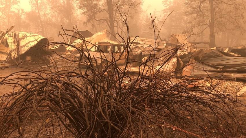 Fire damage is seen in Mill City, Ore.