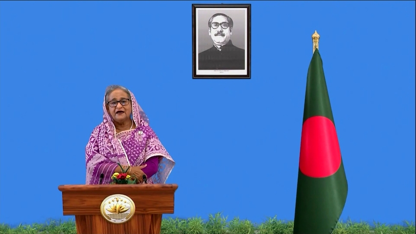 In this photo made from UNTV video, Sheikh Hasina, Prime Minister of Bangladesh, speaks in a pre-recorded message which was played during the 75th session of the United Nations General Assembly, Saturday, Sept. 26, 2020, at UN Headquarters.