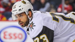 Brandon Pirri of the Vegas Golden Knights lines up for a faceoff