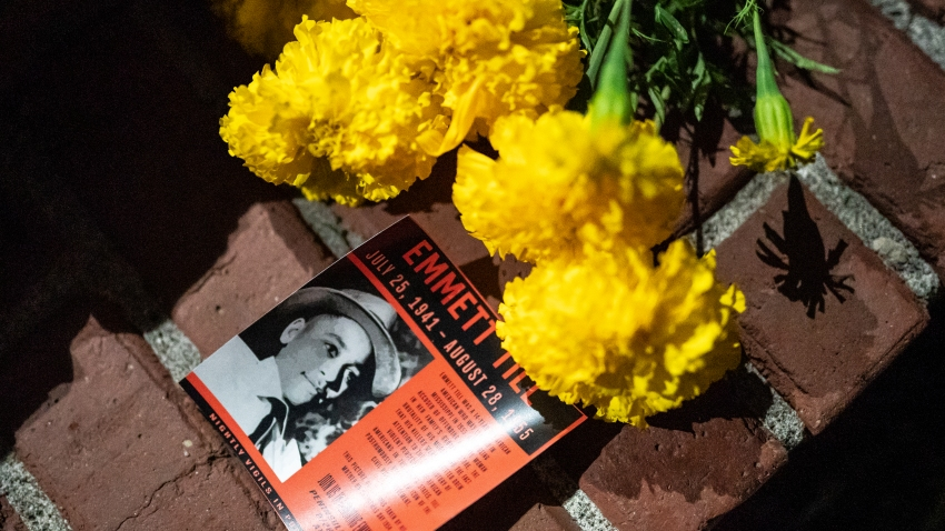 A flyer detailing the lynching of Emmett Till is seen here during a protest against police brutality and racial injustice on August 28, 2020 in Portland, Oregon. Friday marked the 93rd night of protests in Portland following the death of George Floyd.