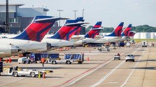 Delta Airlines planes at Hartsfield-Jackson Atlanta International Airport.