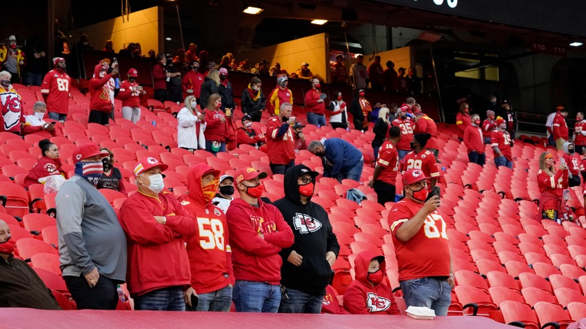In this Thursday, Sept. 10, 2020 file photo, fans stand for a presentation on social justice before an NFL football game between the Kansas City Chiefs and the Houston Texans in Kansas City, Mo.