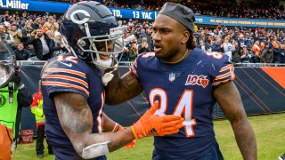 Cordarrelle Patterson and Allen Robinson celebrate a Bears win at Soldier Field