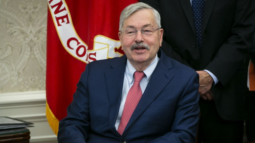 in this Feb. 22, 2019, file photo, Terry Branstad, U.S. Ambassador to China, speaks during a trade meeting with Liu He, China's vice premier and director of the central leading group of the Chinese Communist Party, not pictured, in the Oval Office of the White House in Washington, D.C.