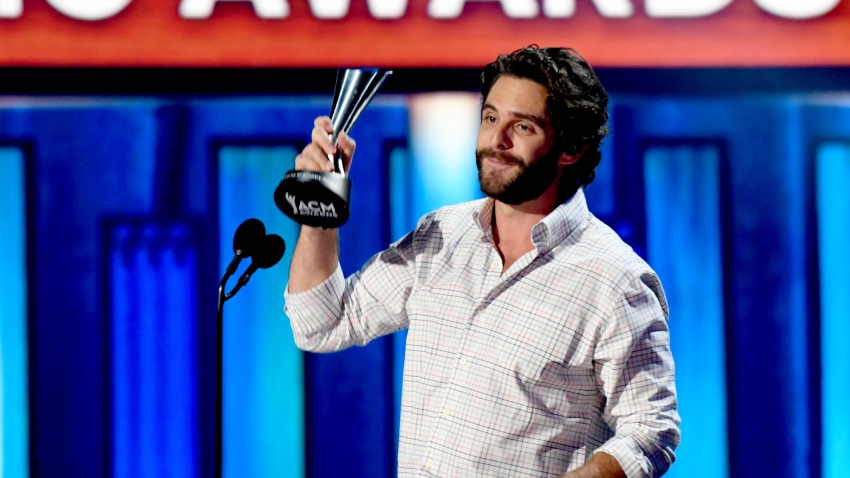 Thomas Rhett poses with the Entertainer of the Year award onstage during the 55th Academy of Country Music Awards at the Grand Ole Opry on September 16, 2020 in Nashville, Tennessee.