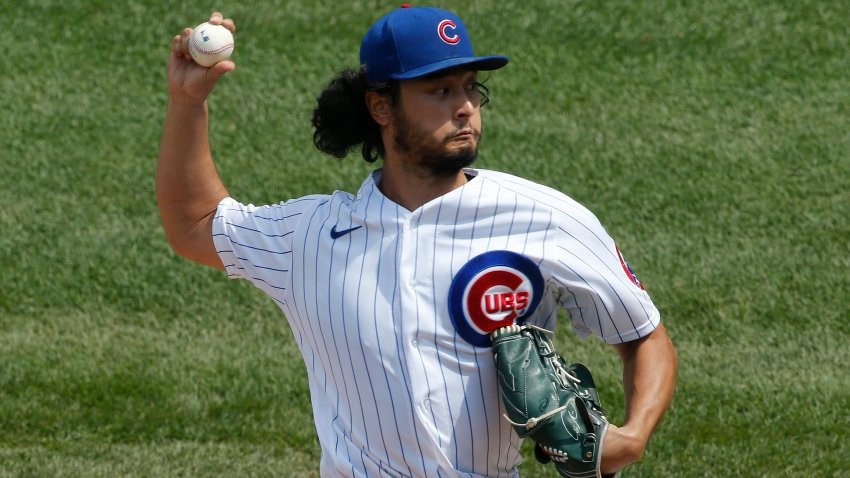 Yu Darvish delivers a pitch against the White Sox