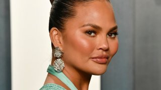 In this Feb. 9, 2020, file photo, Chrissy Teigen at the 2020 Vanity Fair Oscar Party in Beverly Hills, California.