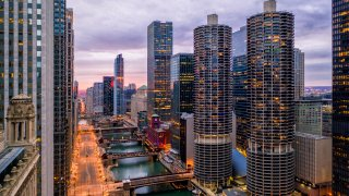 Aerial View of Empty Chicago Riverwalk During COVID-19 Pandemic