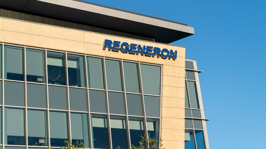 View of Corporate and Research and Development Headquarters of Regeneron Pharmaceuticals, Inc. on Old Saw Mill River Road.
