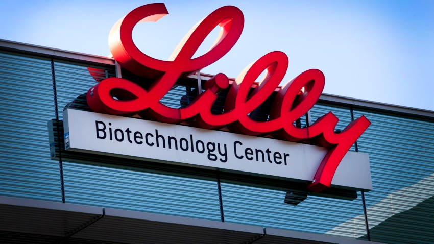 Eli Lilly & Co. signage is displayed outside the company's office in La Jolla, California, U.S., on Tuesday, Aug. 23, 2011.