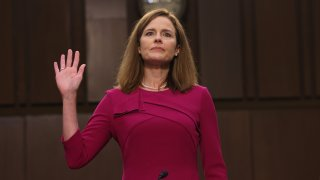 In this Oct. 12, 2020, file photo, Supreme Court nominee Judge Amy Coney Barrett is sworn into her Senate Judiciary Committee confirmation hearing on Capitol Hill in Washington, D.C. Barrett was nominated by President Donald Trump to fill the vacancy left by Justice Ruth Bader Ginsburg, who died in September.