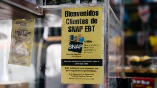 A sign alerting customers about SNAP food stamps benefits is displayed in a Brooklyn grocery store, Dec. 5, 2019, in New York City.