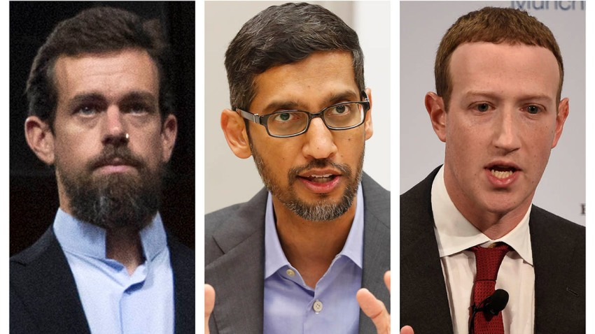 This combination of 2018-2020 photos shows, from left, Twitter CEO Jack Dorsey, Google CEO Sundar Pichai, and Facebook CEO Mark Zuckerberg. Less than a week before Election Day, the CEOs of Twitter, Facebook and Google are set to face a grilling by Republican senators who accuse the tech giants of anti-conservative bias. Democrats are trying to expand the discussion to include other issues such as the companies' heavy impact on local news.