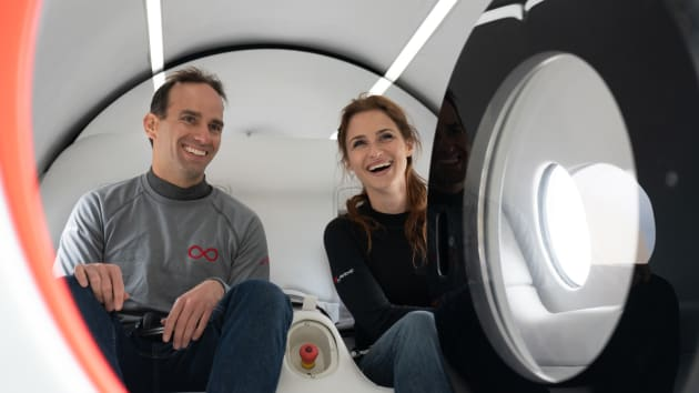 Virgin Hyperloop's Chief Technology Officer Josh Giegel and Sara Luchian, who is director of passenger experience.