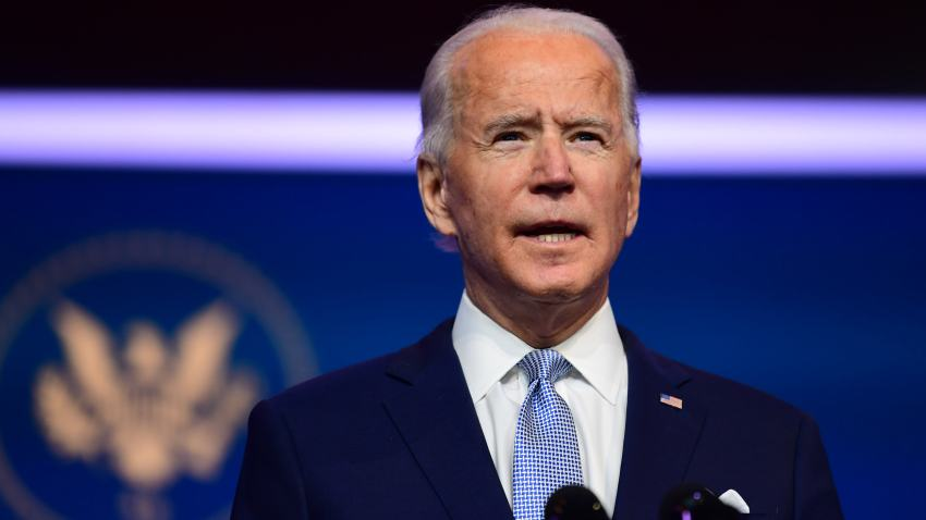 In this Nov. 24, 2020, file photo, President-elect Joe Biden introduces key foreign policy and national security nominees and appointments at the Queen Theatre in Wilmington, Delaware.