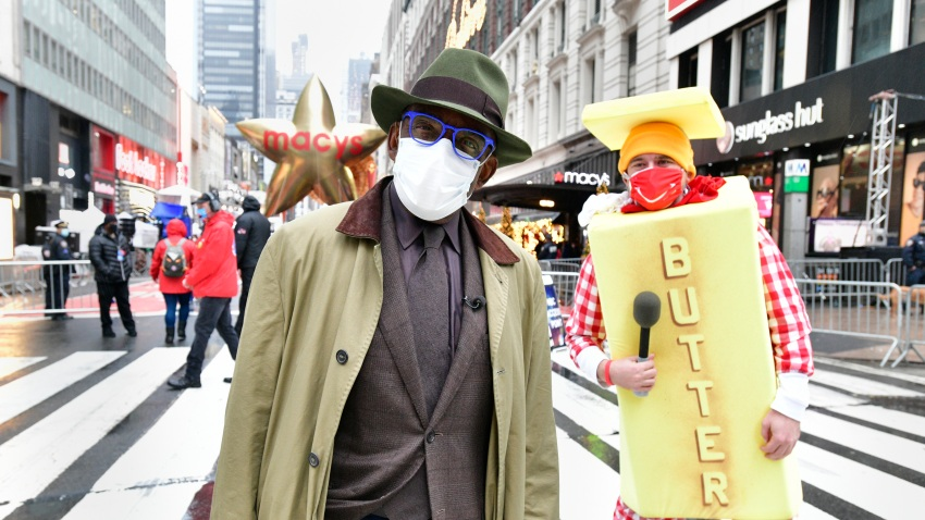 Al Roker and Butter Man appear at the 94th Annual Macy's Thanksgiving Day Parade on November 26, 2020, in New York City.