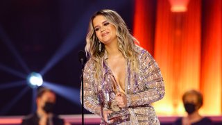 Maren Morris accepts an award onstage during the 54th Annual CMA Awards at Nashville's Music City Center on Wednesday, November 11, 2020, in Nashville, Tennessee.
