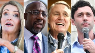The race is on for two Georgia senate seats, with incumbents Sen. Kelly Loeffler and Sen. David Perdue (third-left) up against Democratic challengers Raphael Warnock (second-left) and Jon Ossoff (right) respectively.