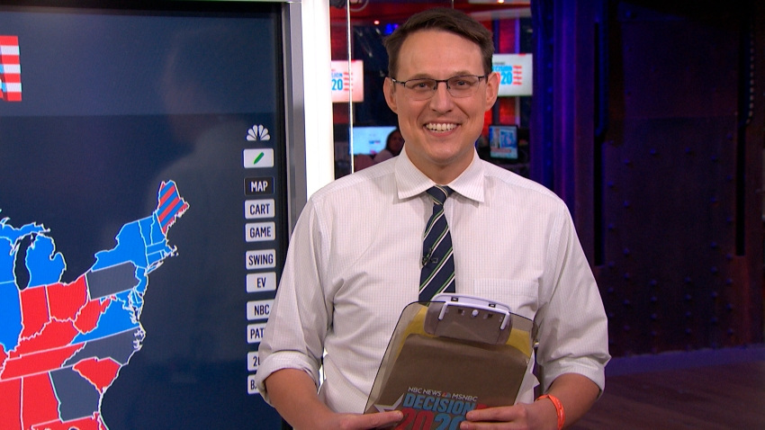 """In this Nov. 4, 2020, file photo, NBC News journalist Steve Kornacki during an interview on """"The Tonight Show."""""""