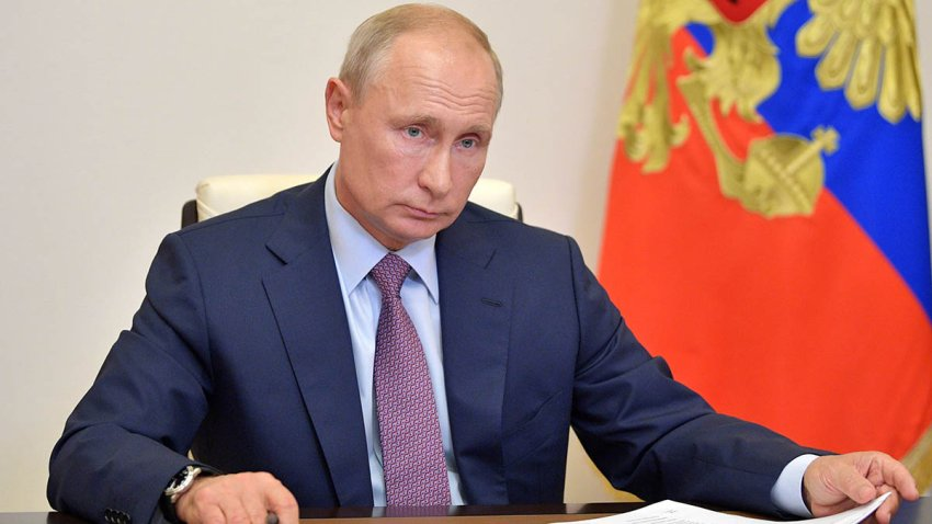 In this July 2, 2020, file photo, Russia President Vladimir Putin chairs a video meeting at the Novo-Ogaryovo state residence outside Moscow as he thanked Russians after a nationwide vote approved controversial constitutional reforms that allow him to extend his rule until 2036.