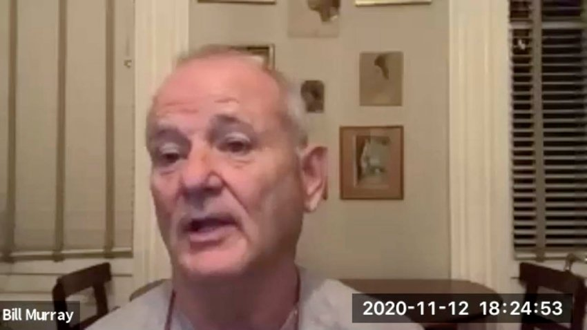 "In this Nov. 12, 2020 image taken from video, actor Bill Murray takes part in a virtual production of ""Poetry for the Pandemic."" Murray is set to play Job in a biblical reading designed to spark meaningful conversations across spiritual and political divides."