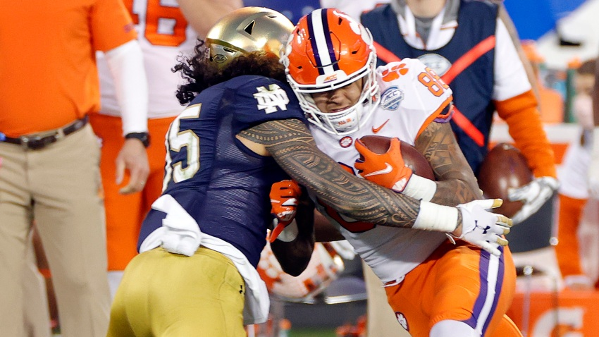 Tight end Braden Galloway #88 of the Clemson Tigers is tackled during game
