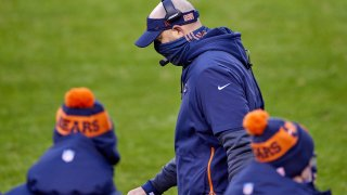 Chicago Bears head coach Matt Nagy looks on in action during a game between the Chicago Bears and the Detroit Lions on December 06, 2020, at Soldier Field in Chicago