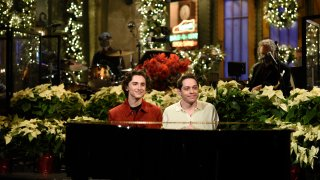 Pictured: Host Timothée Chalamet and Pete Davidson during the Monologue on Saturday, December 12, 2020