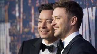 "In this Feb. 15, 2015, file photo, Jimmy Fallon (L) and Justin Timberlake attend the ""SNL 40th Anniversary Celebration"" at Rockefeller Plaza in New York City."