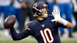 Mitchell Trubisky prepares to throw a pass during warmups against the Detroit Lions at Soldier Field