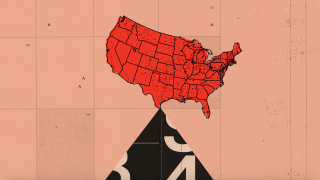 Photo illustration of a map of the United States teetering.