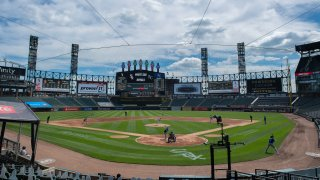A general interior view of Guaranteed Rate Field during the MLB game between the Chicago White Sox and the Kansas City Royals on August 29, 2020 at Guaranteed Rate Field in Chicago, Illinois.