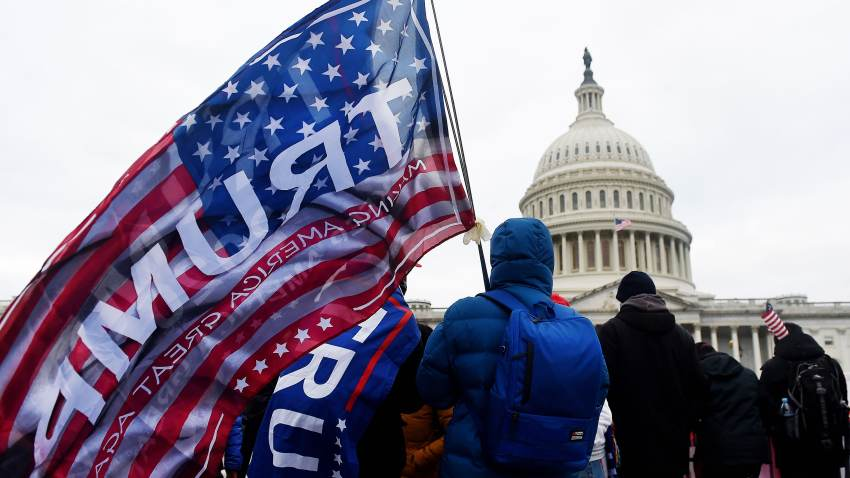 In this Jan. 6, 2021, file photo, supporters of U.S. President Donald Trump hold a rally outside the US Capitol as they protest the upcoming electoral college certification of Joe Biden as US President in Washington, D.C.