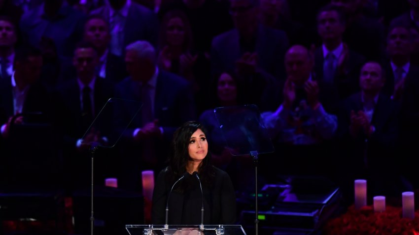 """Kobe Bryant's wife Vanessa Bryant speaks during the """"Celebration of Life for Kobe and Gianna Bryant"""" service at Staples Center in Downtown Los Angeles on February 24, 2020."""
