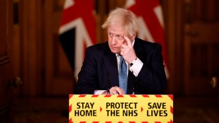 British Prime Minister, Boris Johnson speaks during a virtual press conference at No.10 Downing Street on January 7, 2021 in London, England.