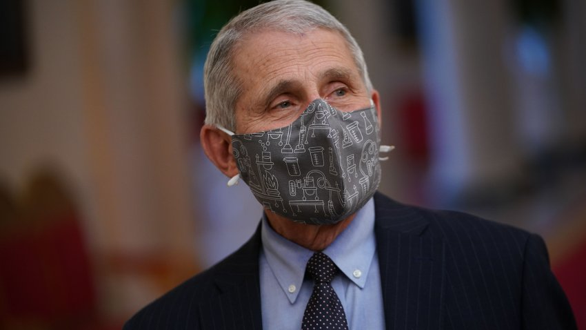In this Jan. 21, 2021, file photo, Dr. Anthony Fauci arrives for President Joe Biden's address about the COVID-19 response before signing executive orders in the State Dining Room of the White House in Washington, D.C.