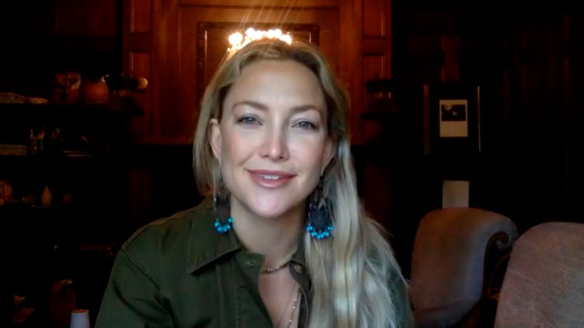"""In this April 27, 2020, file photo, actress Kate Hudson appears on """"The Tonight Show Starring Jimmy Fallon."""""""