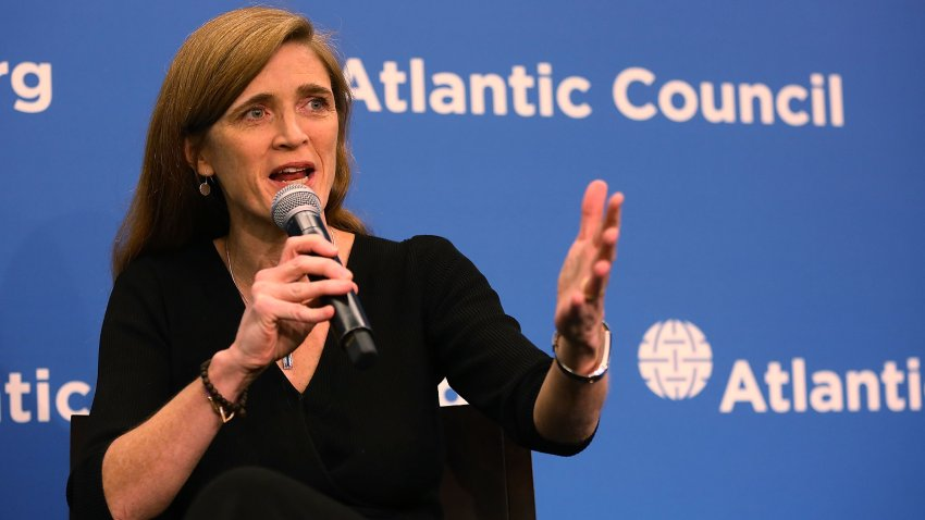 """In this Jan. 17, 2017, file photo, U.S. Permanent Representative to the United Nations Samantha Power speaks during a discussion at the Atlantic Council on """"The Future of U.S.-Russia Relations"""" in Washington, D.C."""