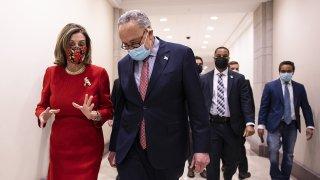 Speaker of the House Nancy Pelosi (D-CA) and Senate Minority Leader Chuck Schumer (D-NY)