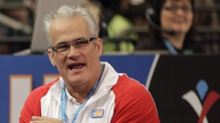 In this March 3, 2012, file photo, gymnastics coach John Geddert is seen at the American Cup gymnastics meet at Madison Square Garden in New York.