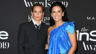 In this Oct. 21, 2019, file photo, Ashlyn Harris and Ali Krieger attend the 2019 InStyle Awards at The Getty Center in Los Angeles, California.