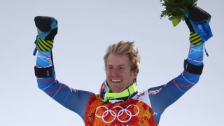 Gold medalist Ted Ligety of USA stands on the podium during the flower ceremony of the Men's Giant Slalom Alpine Skiing event in Rosa Khutor Alpine Center at the Sochi 2014 Olympic Games, Krasnaya Polyana, Russia, 19 February 2014.