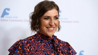In this Nov. 18, 2019, file photo, actress Mayim Bialik arrives at the Saban Community Clinic's 43rd Annual Dinner Gala at The Beverly Hilton Hotel in Beverly Hills, California.