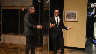 Actor Eugene Levy and host Dan Levy during the Monologue on Saturday, February 6, 2021.
