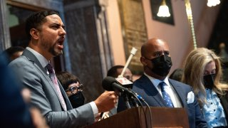 Rep. Justin Bamberg (D-Bamberg) holds an instrument used for sonograms while speaking in the statehouse lobby during a press conference and protest by Democrats who walked out during a debate on an anti-abortion bill in the House of Representatives. Republicans passed the bill and after being signed by the Governor, it will most likely cause a constitutional showdown in the courts.