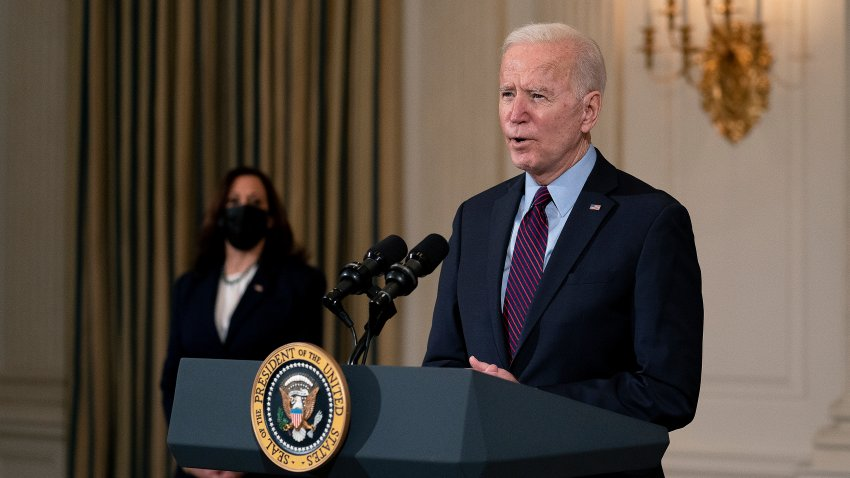 WASHINGTON, DC - FEBRUARY 05: U.S. President Joe Biden delivers remarks on the national economy and the need for his administration's proposed $1.9 trillion coronavirus relief legislation with Vice President Kamala Harris in the State Dining Room at the White House on February 05, 2021 in Washington, DC. Biden hosted lawmakers from both parties at the White House this week in an effort to push his pandemic relief plan forward.