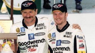 Dale Earnhardt, Sr. Poses With Dale Earnhardt, Jr.